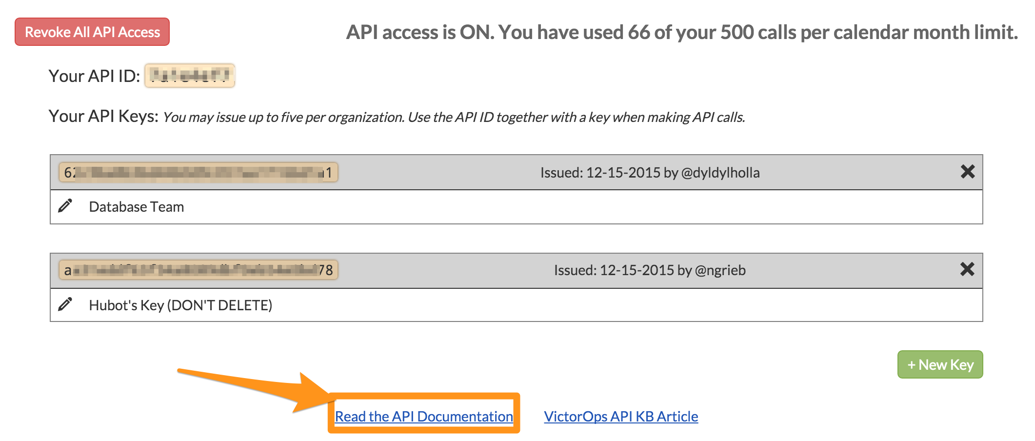 Read API documentation - API Get started VictorOps