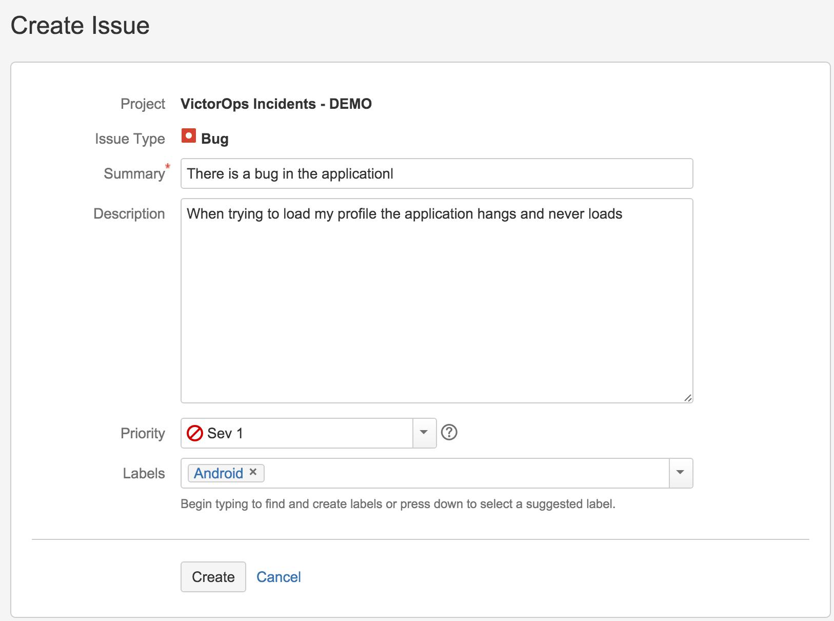 Create an Issue in Jira with custom url - VictorOps