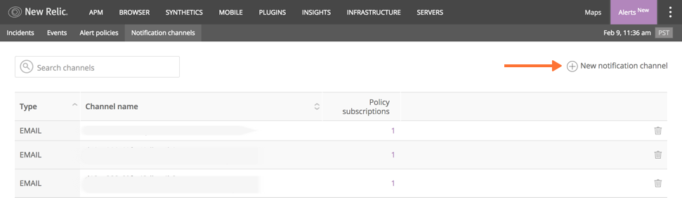 New Relic Alerts UI notification channel