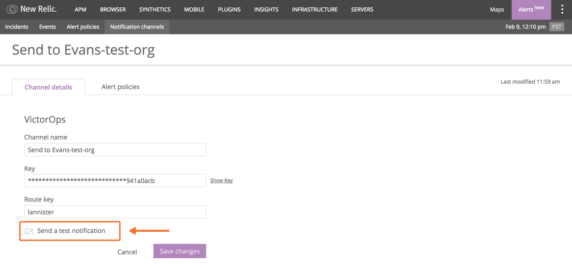 send a test notification to VictorOps from New Relic