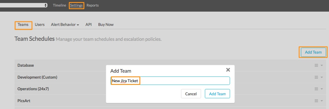 In VictorOps web portal selectSettingsthenSchedulesand thenAdd Team
