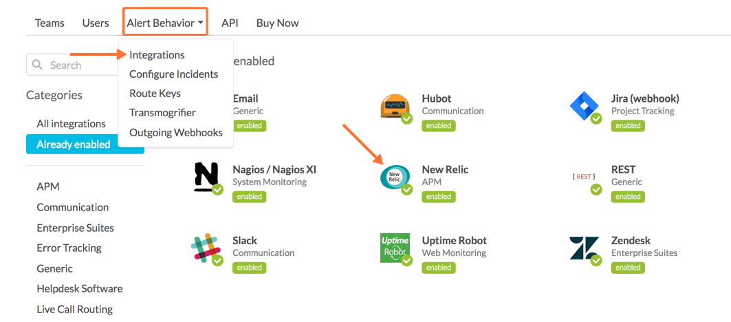 Find New Relic integration in VictorOps