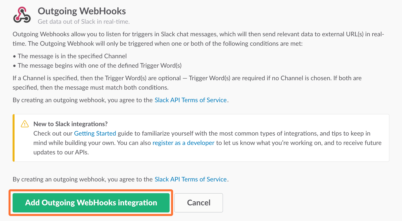 Add Outgoing WebHooks Integration
