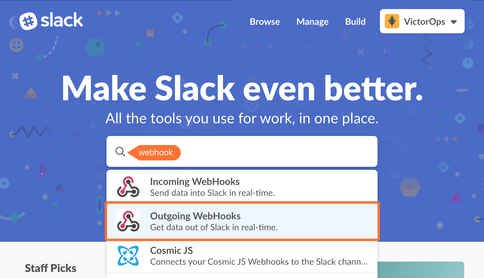 Select Outgoing WebHooks.