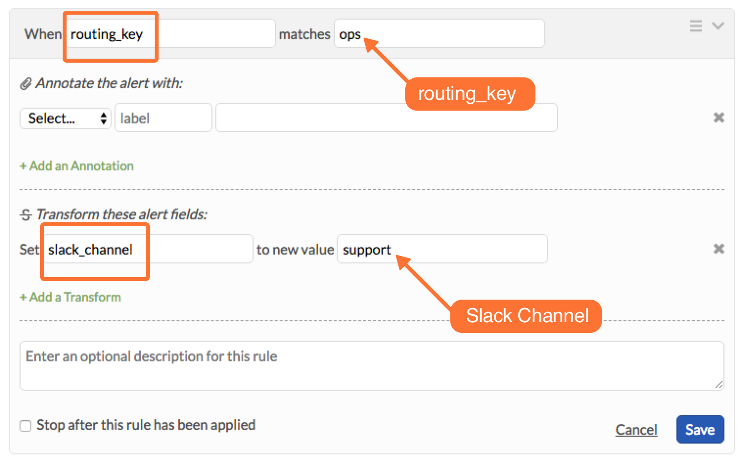 create rules to associate your Slack channels to their appropriate routing_keys in VictorOps