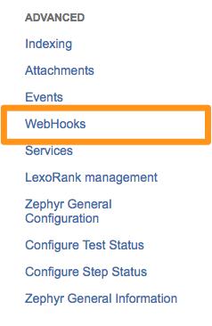 select webhooks in Jira - 2