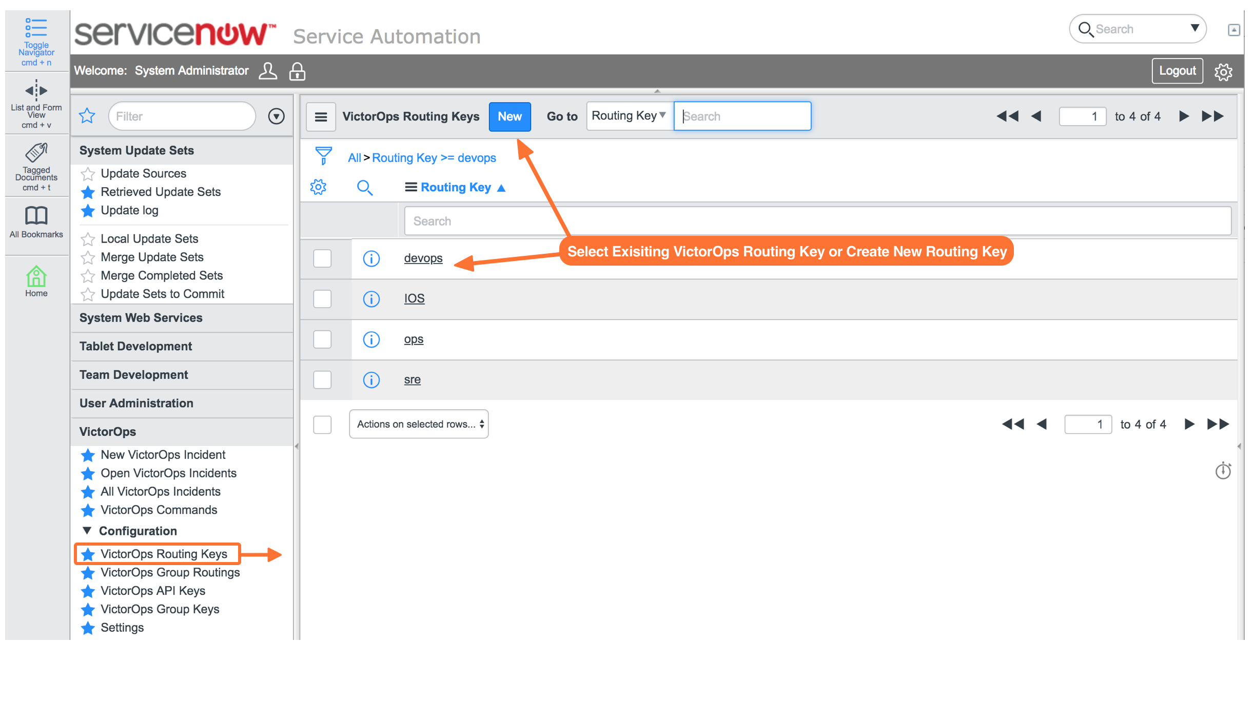 Select a ServiceNow user group and VictorOps routing key