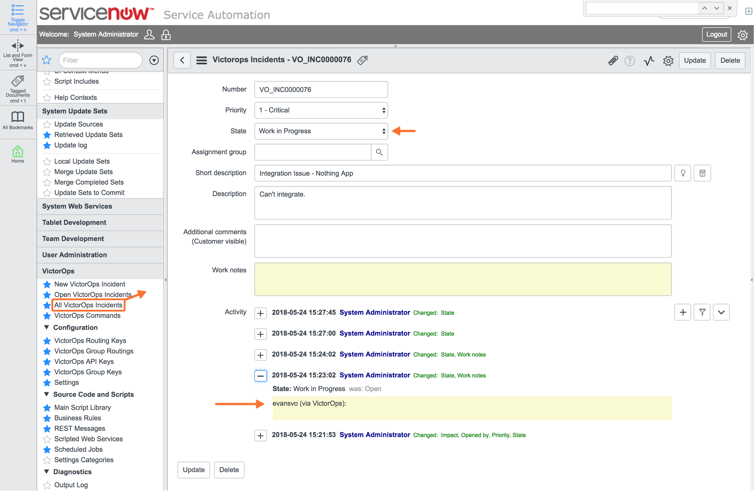 ServiceNow Task state updated with an appropriate corresponding state