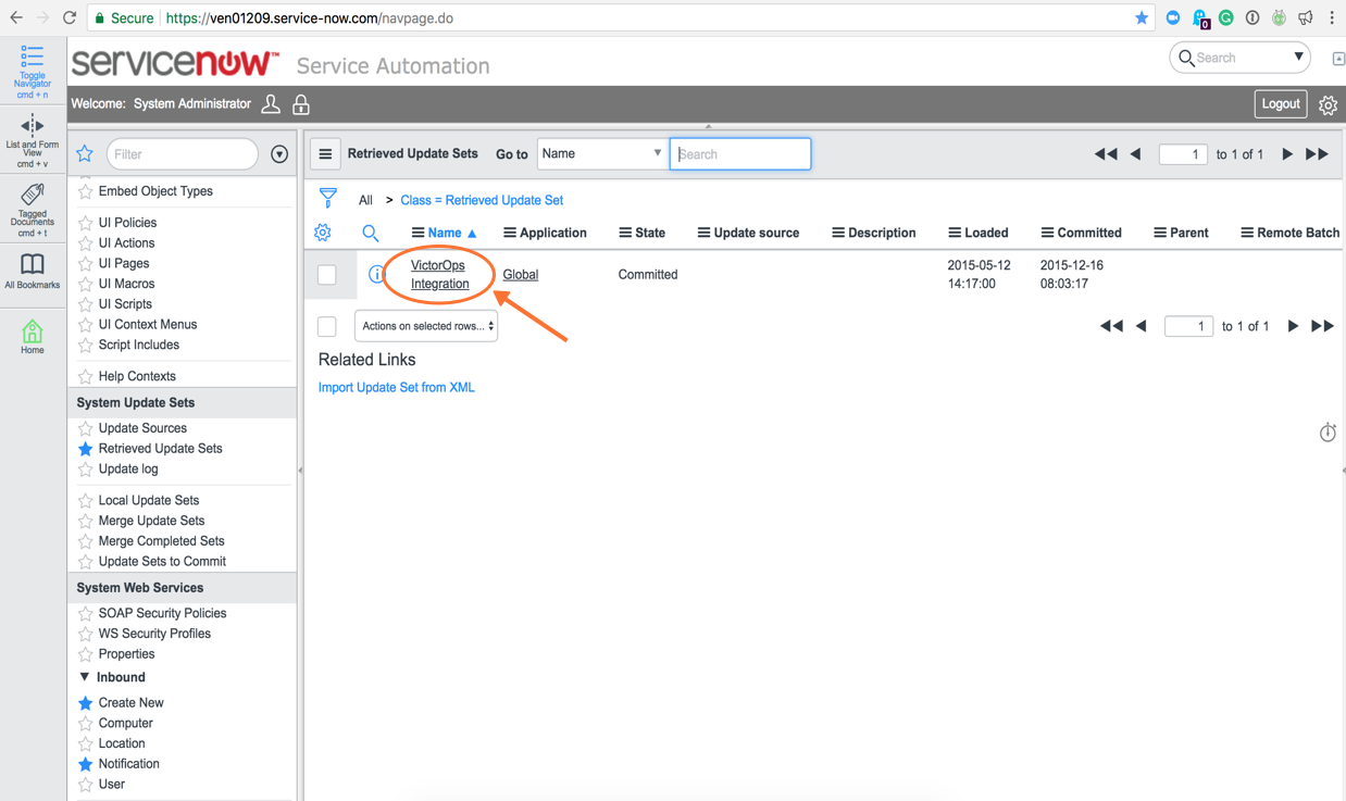 Click on VictorOps Integration and then Preview Update Set