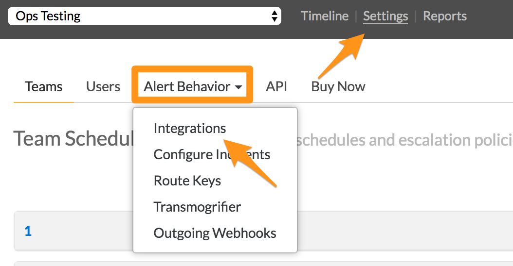 Find integrations under alert behavior in settings - VictorOps