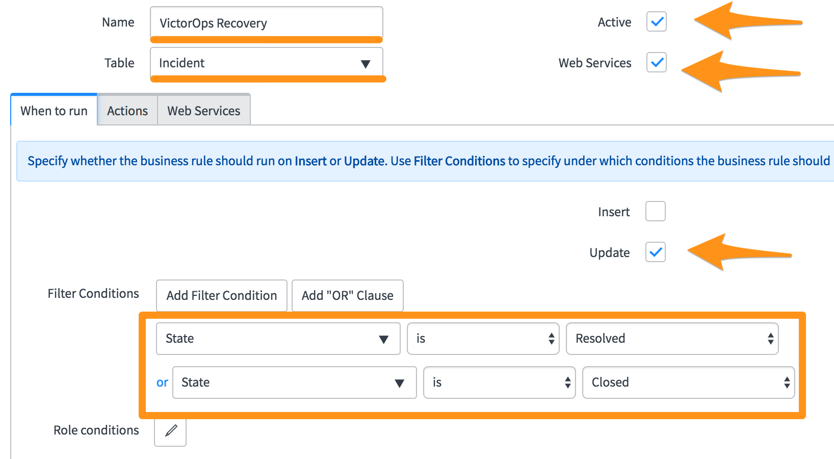 put in the specific filter conditions for when you want incidents sent to VictorOps.