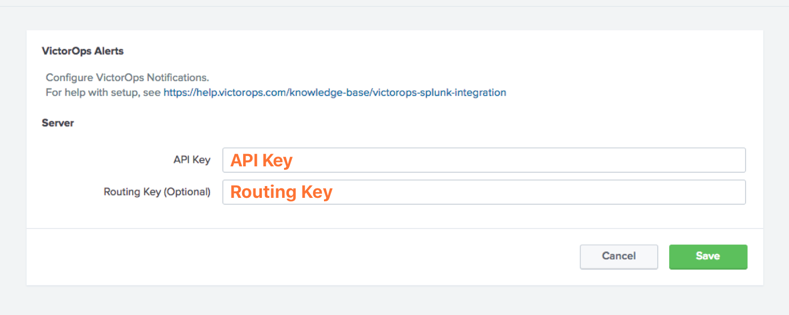 splunk victorops API and routing key prompt