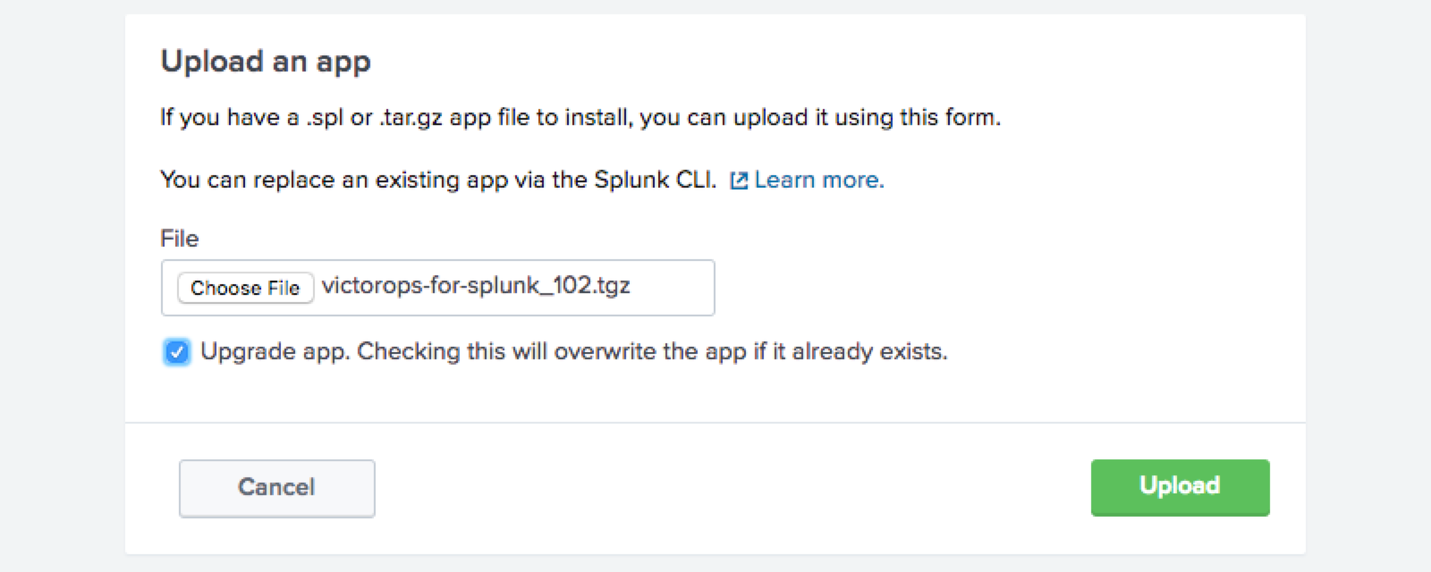 upload victorops for splunk file