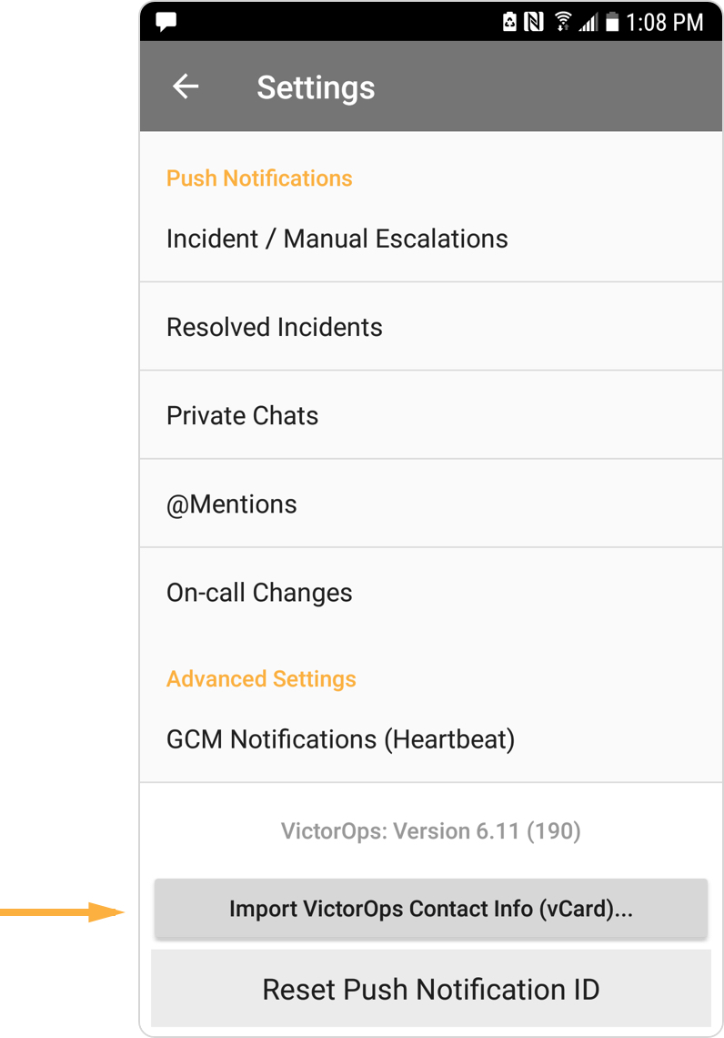 Import new contacts - Android - VictorOps new user