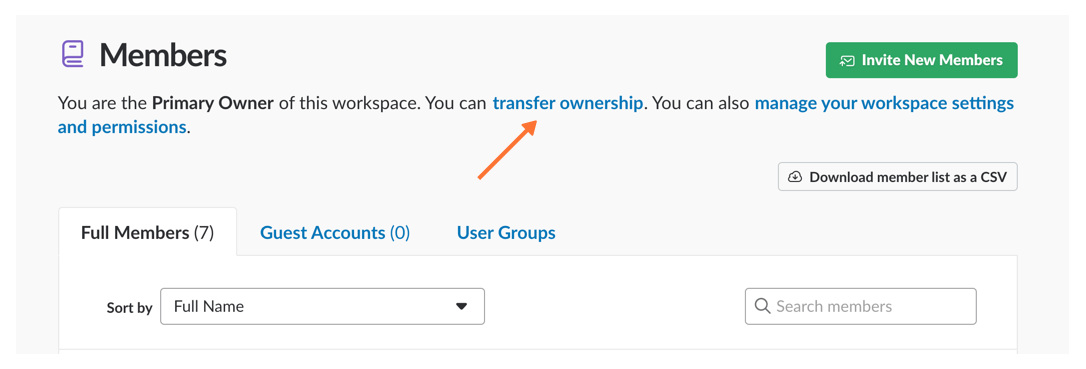 finding Transfer Ownership link
