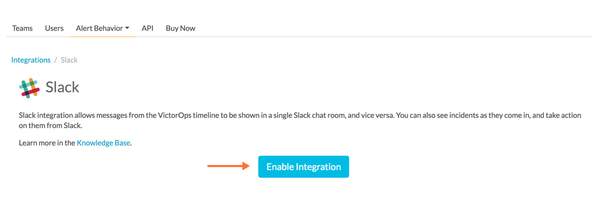 selecting enable integration - slack and victorops