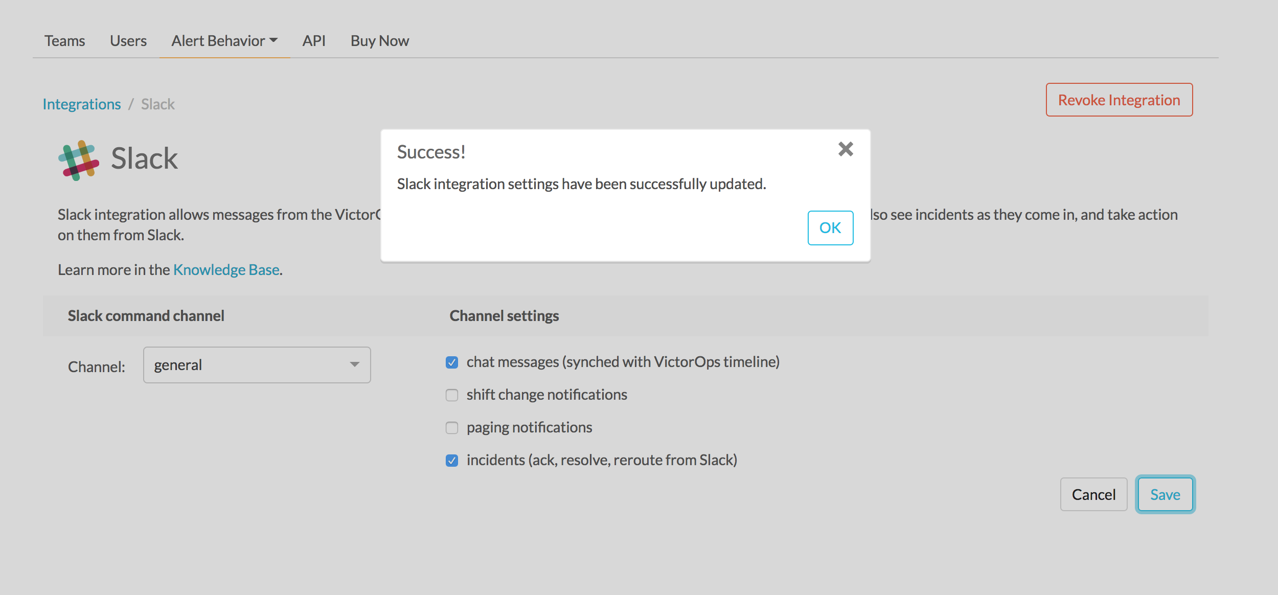 authentication success - slack victorops integration