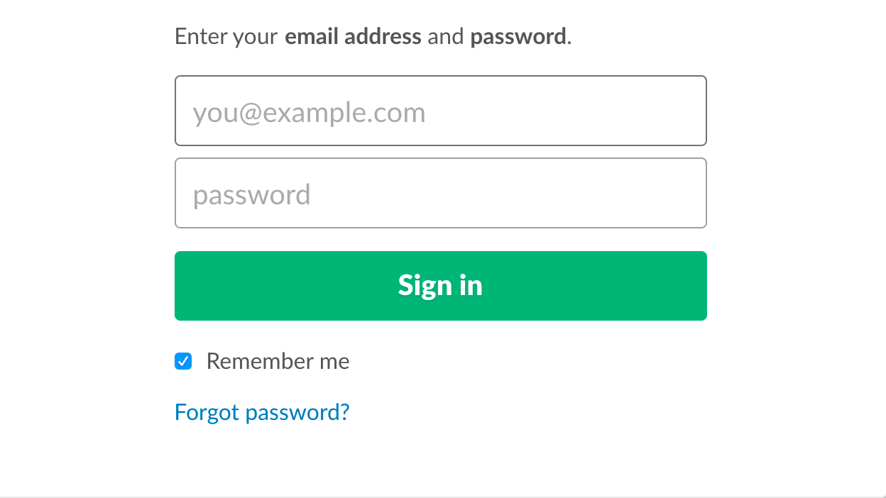 email and password prompt for integration screen