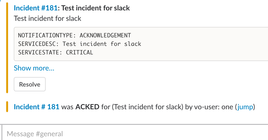 VictorOps Slack alert incident example 2
