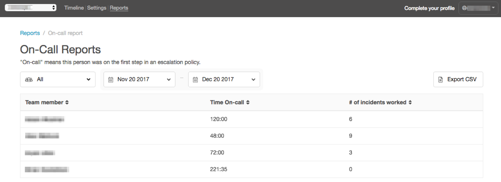 VictorOps on call report main interface