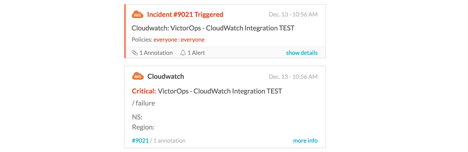 VictorOps Cloudwatch incident creation example