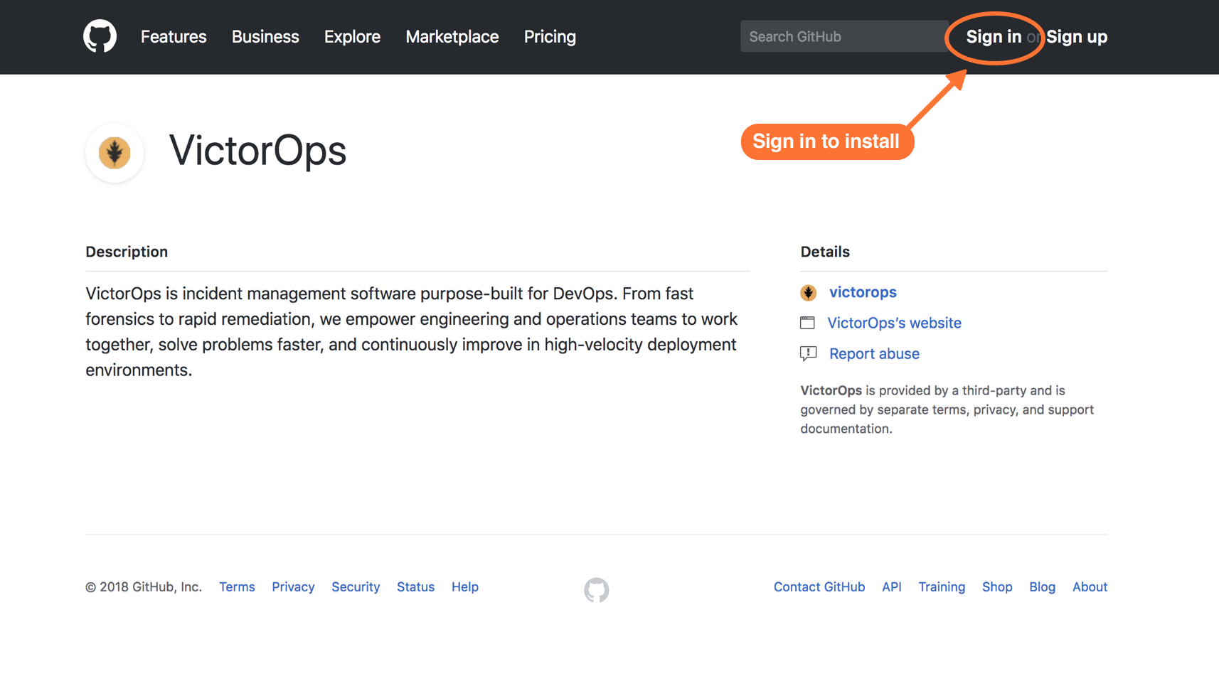 sign in to github to find victorops