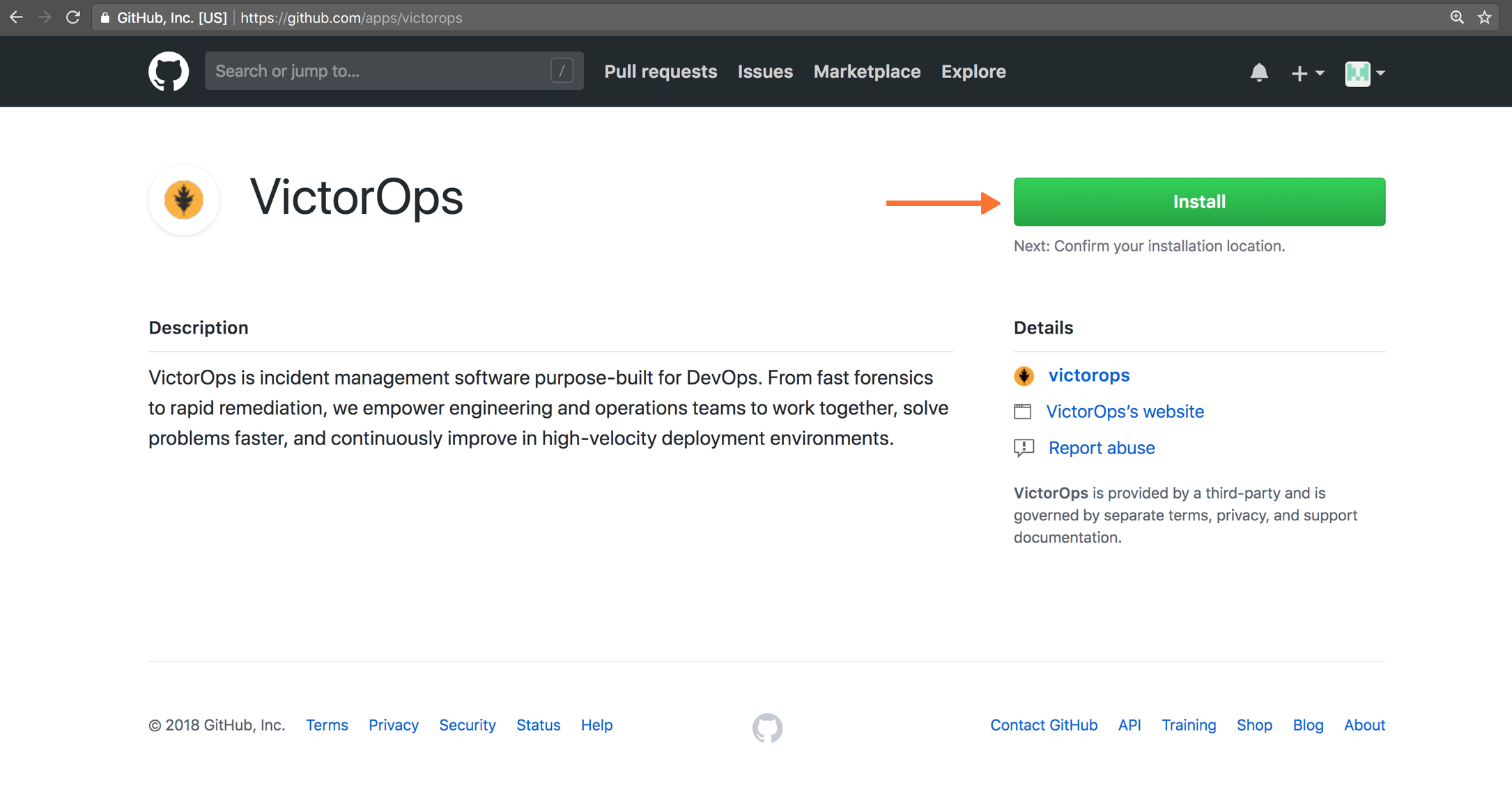 select install victorops in github
