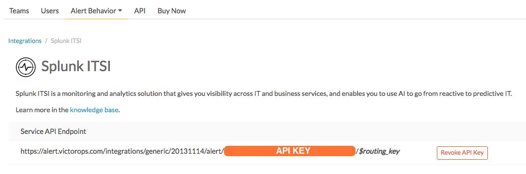 splunk itsi victorops service API endpoint key