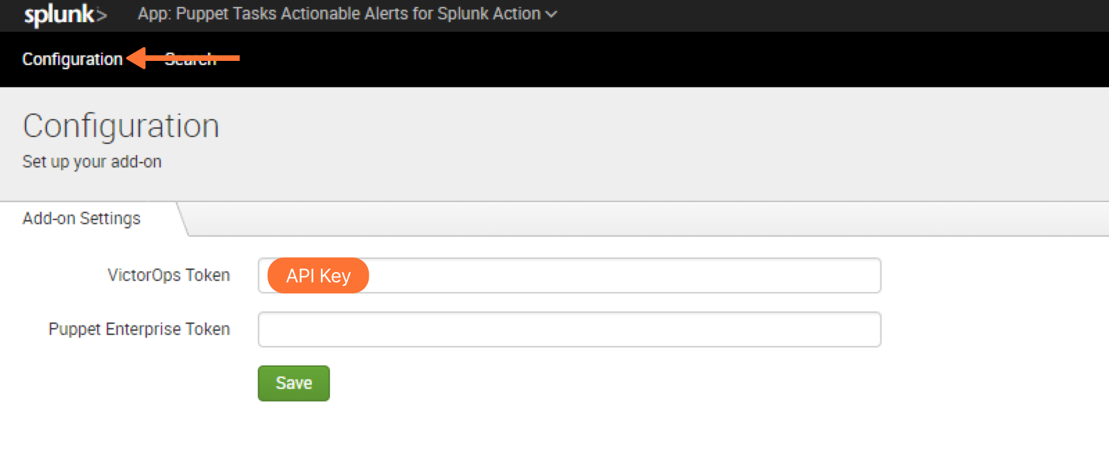Configure puppet tasks in splunk enterprise