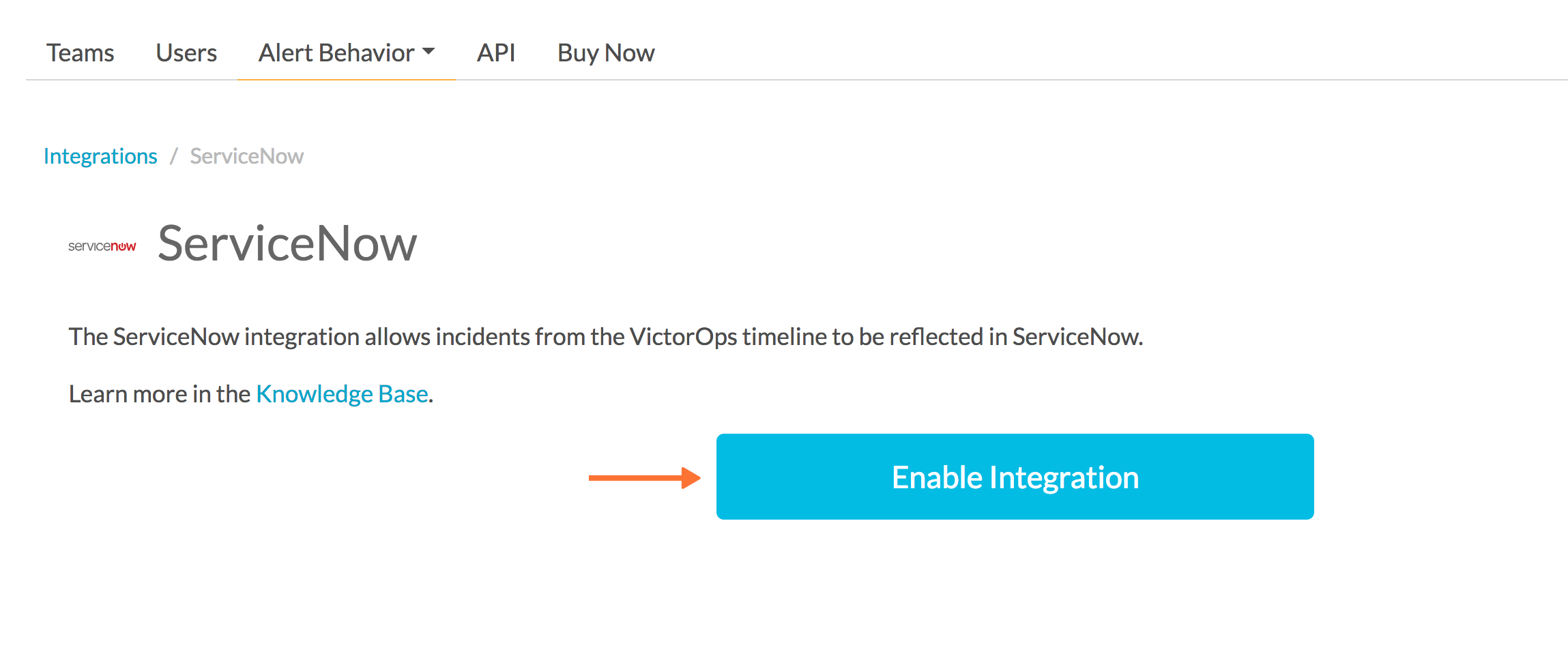 enable servicenow in victorops