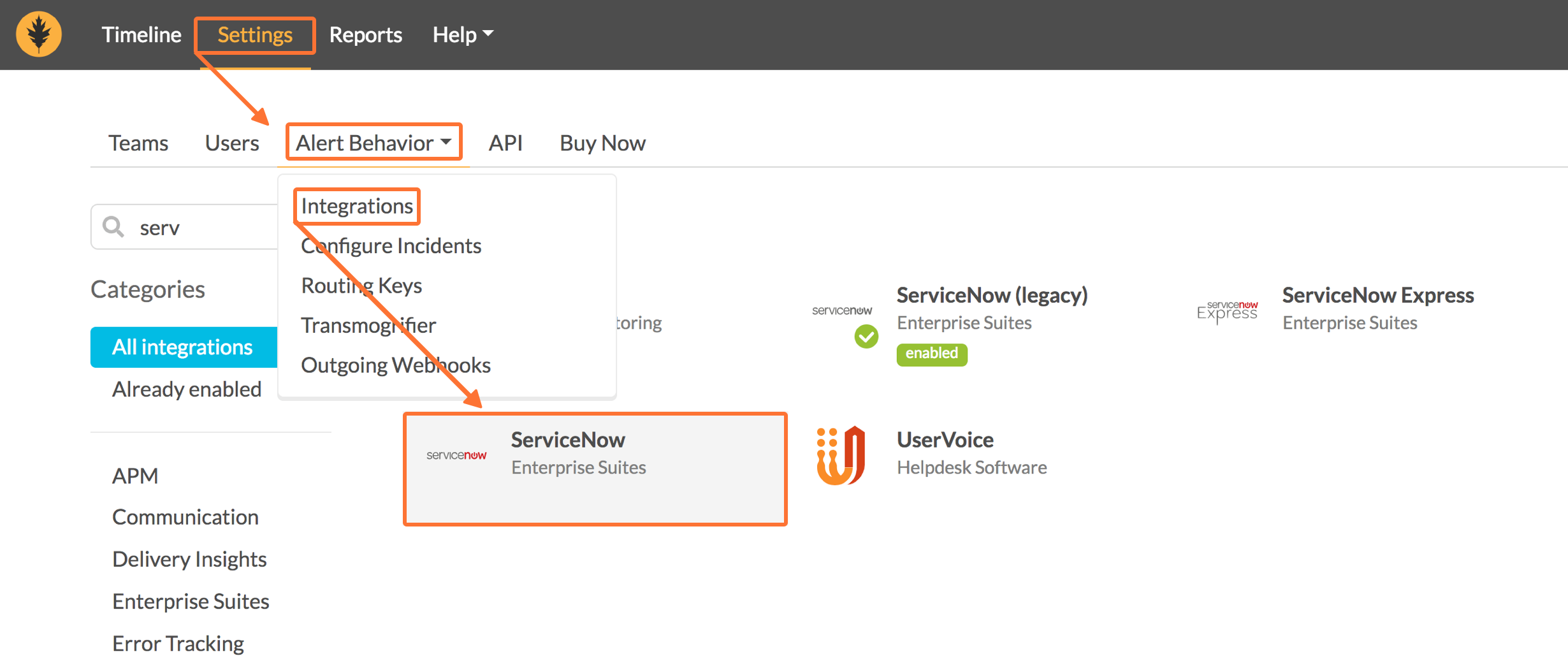 select servicenow in victorops
