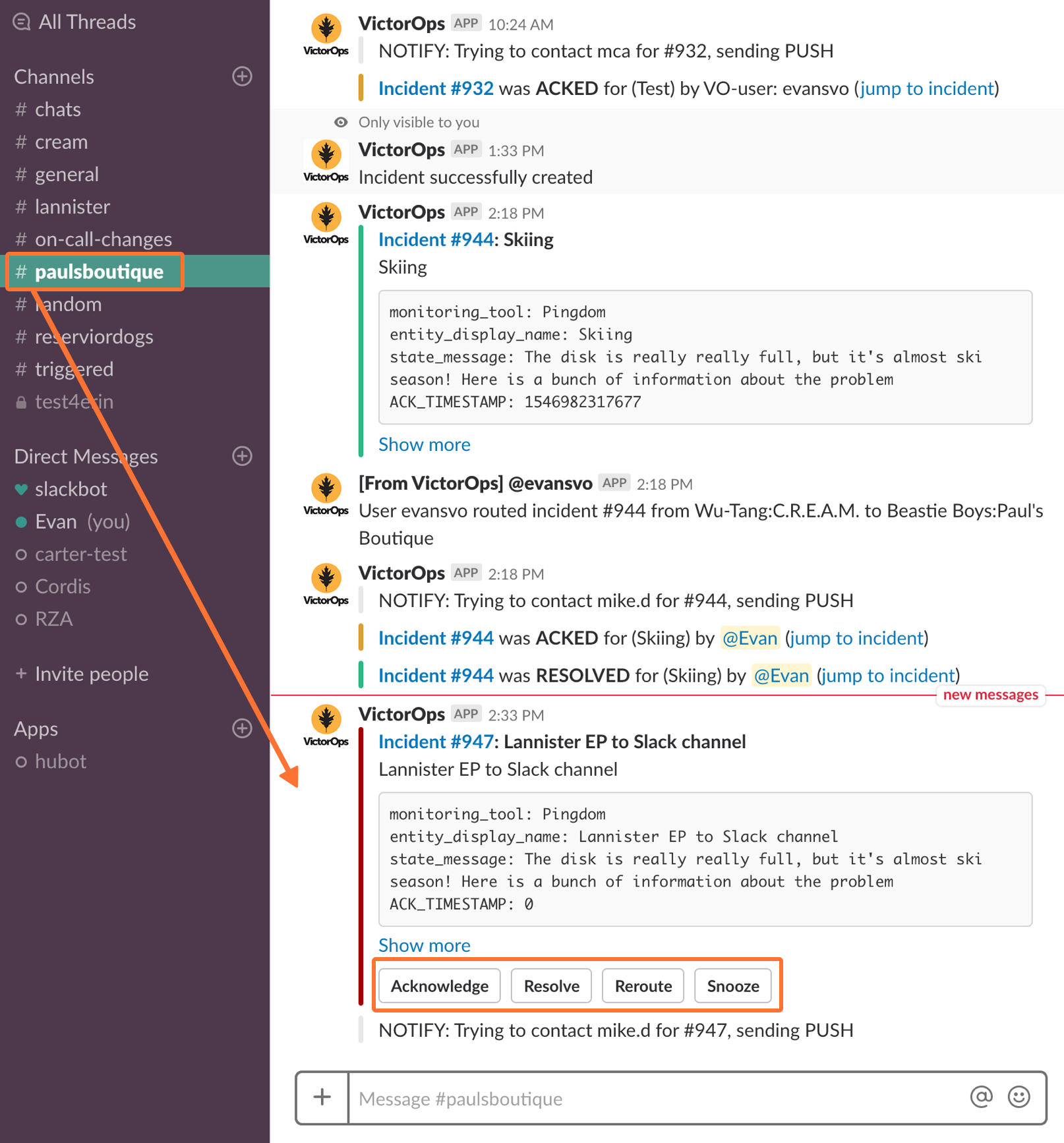 Triggered VictorOps incidents route to specified Slack Channels