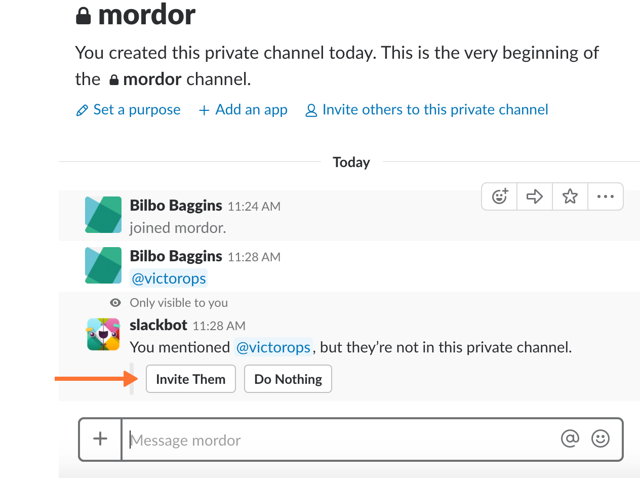 give the app permission by selecting 'Invite Them' slack victorops