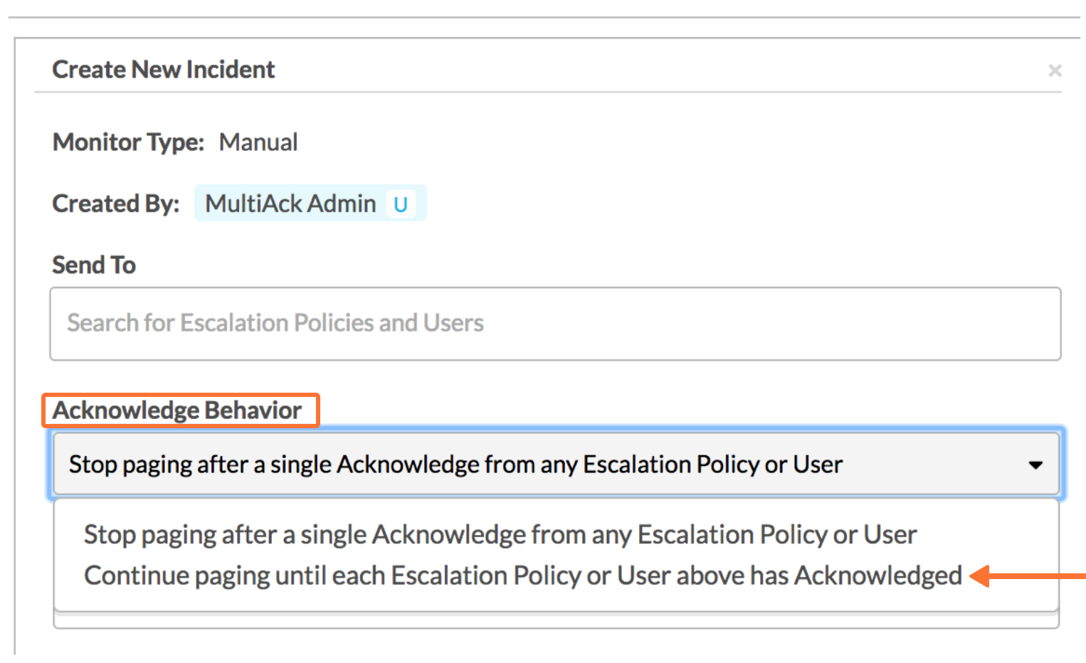 Example of Manually sending an incident to users and escalation policies in Victorops