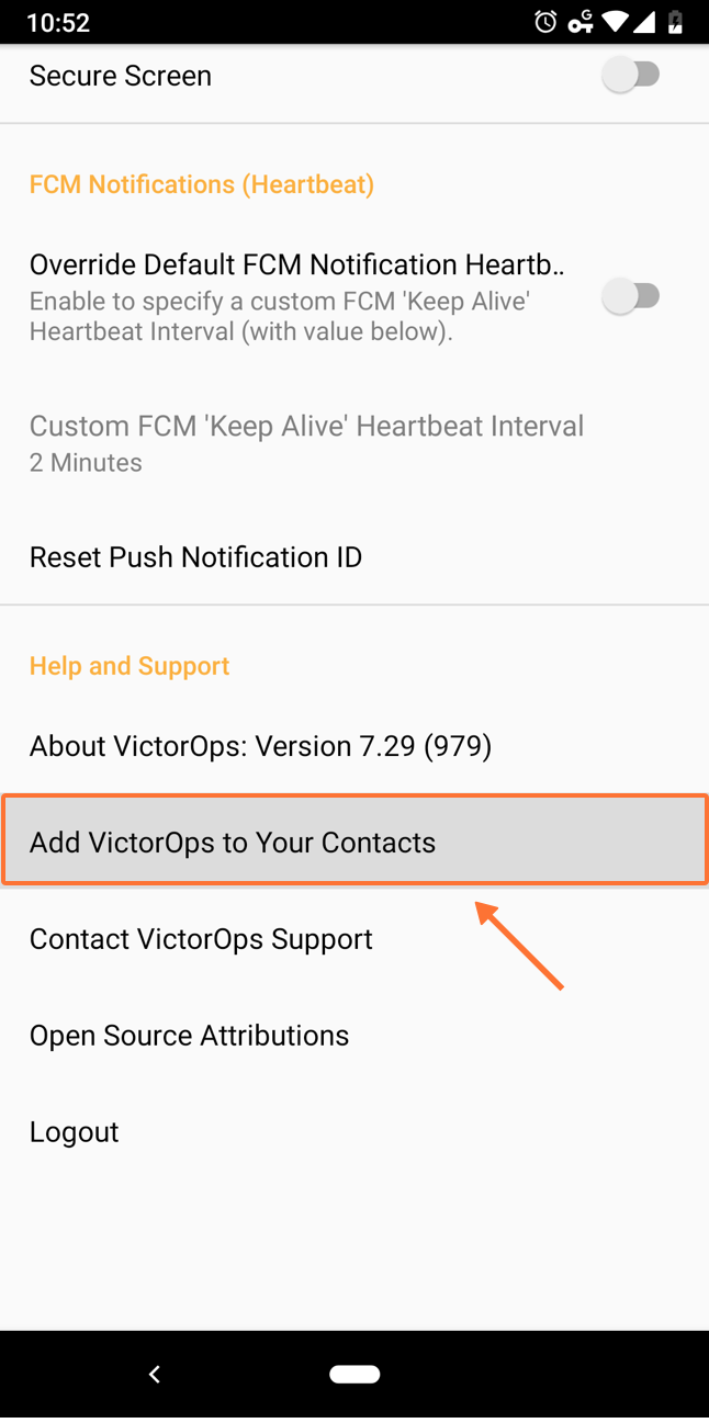 Add VictorOps to your contacts in Android