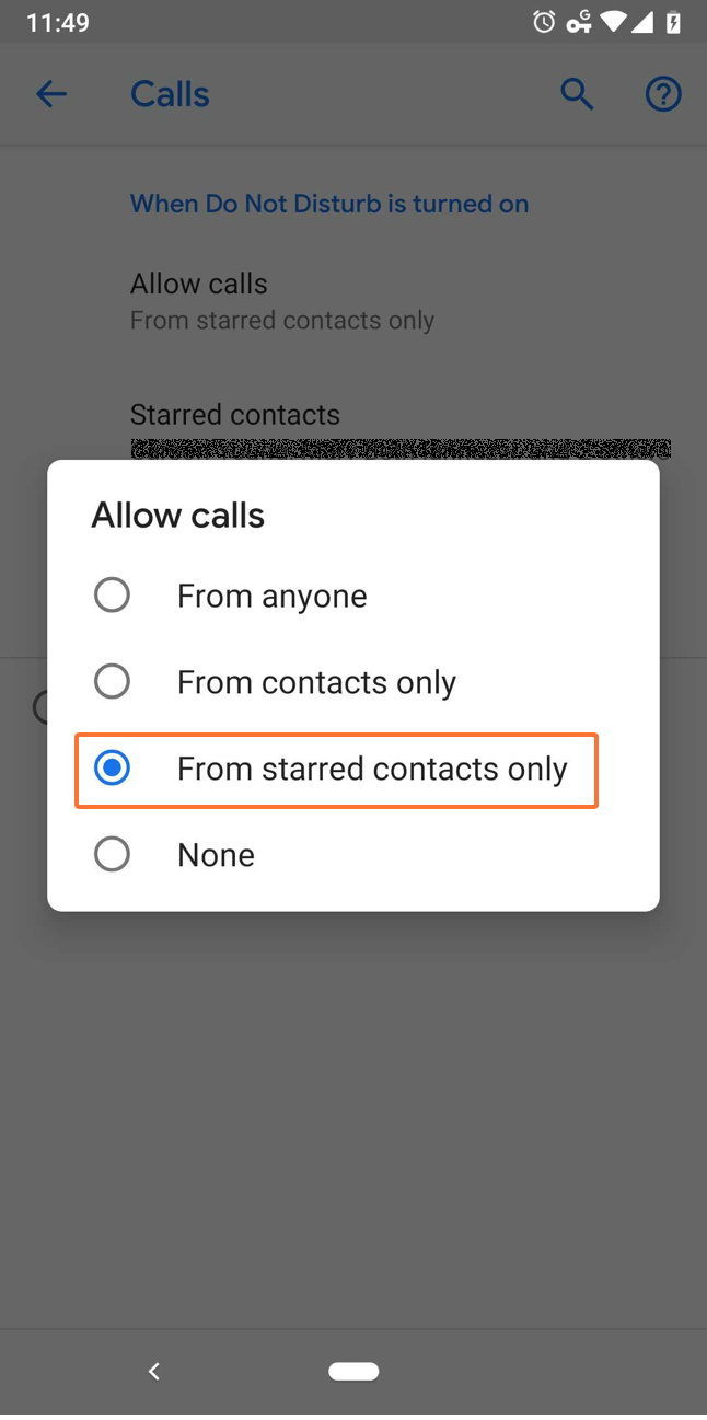 Set up to receive notifications from starred contacts only
