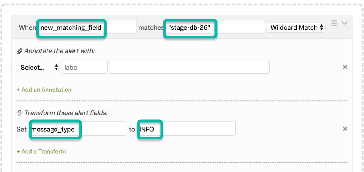 VictorOps Alert Rules Engine, when new_matching_field matches *stage-db-26* set message_type to INFO