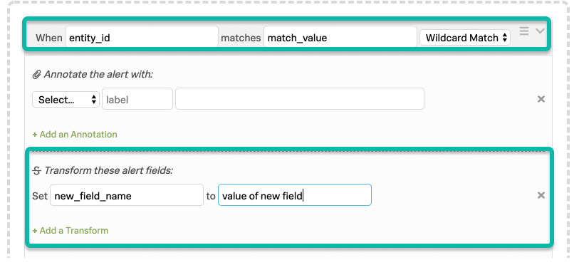 VictorOps Alert Rules Engine: when entity_id matches match_value, set new_field_name to value of new field.