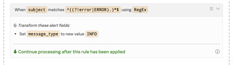 VictorOps Alert Rules Engine matching with RegEx.