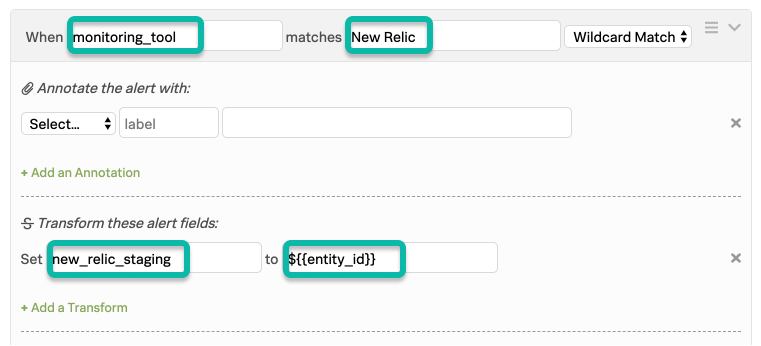 Alert Rules Engine Rule matching New Relic alerts